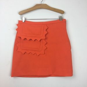 VICTORIA BECKHAM orange pocket detail mini skirt S